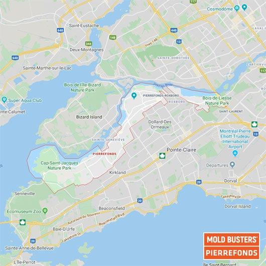 Ouest de l'Île de Montréal Quebec carte