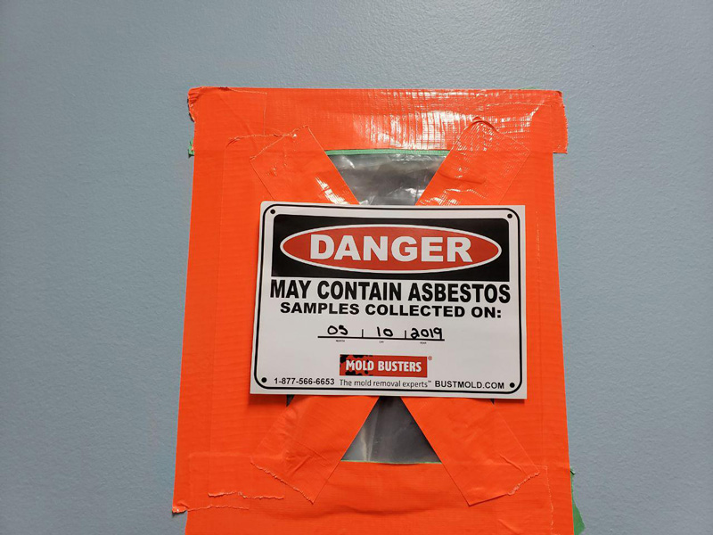 step 9 asbestos in drywall testing warning sticker